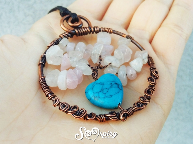 ciondolo-albero-della-vita-rame-anticato-wire-con-cuore-in-turchese-turquoise-heart-antique-copper-wire-tree-of-life