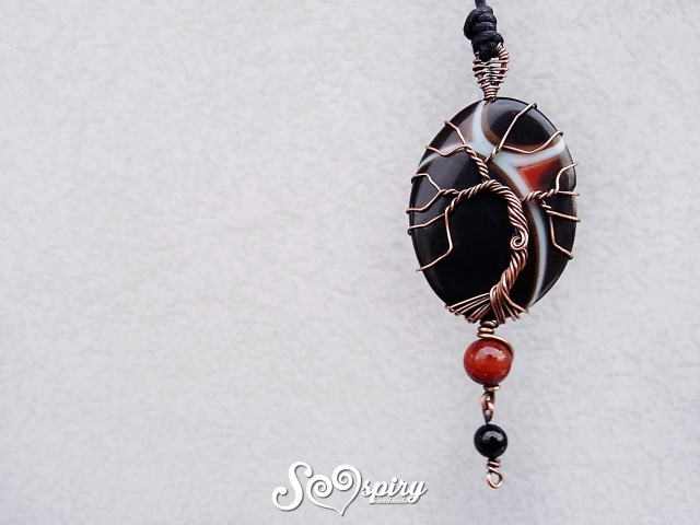 miracle-agata-arancione-albero-della-vita-wire-wrap-rame-anticato-wrapped-tree-of-life-on-miracle-stone-antique-copper